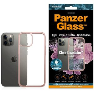 iPhone 12 Pro Max Deksel PanzerGlass ClearCase Antibakteriel - Rose Gold Kant