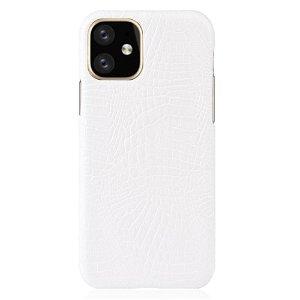 iPhone 11 Skinn Belagt Deksel m. Hvit Krokodilstruktur