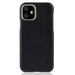 iPhone 11 Skinn Belagt Deksel m. Svart Krokodilstruktur