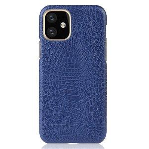 iPhone 11 Skinn Belagt Deksel m. Blå Krokodilstruktur
