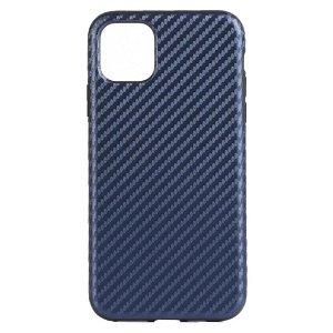 iPhone 11 Pro Skinn Belagt Carbon Deksel - Mørk Blå