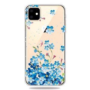 iPhone 11 Gjennomsiktig Fleksibel Plast Deksel - Blå Blomster Trykk