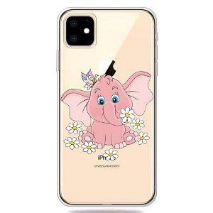 iPhone 11 Fleksibel Plastik Deksel m. Pink Elefant Trykk