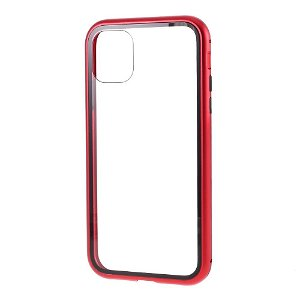 iPhone 11 Magnetisk Metallramme m. Glass Bakdeksel - Rød