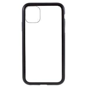 iPhone 11 Magnetisk Metallramme m. Glass Bakdeksel - Svart