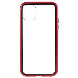 iPhone 11 Pro Magnetisk Metallramme m. Glass Bakdeksel - Rød