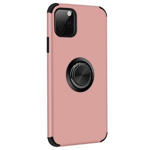 iPhone 11 Pro Fleksibel Plast Deksel m. Ring Stativfunksjon Rose Gull