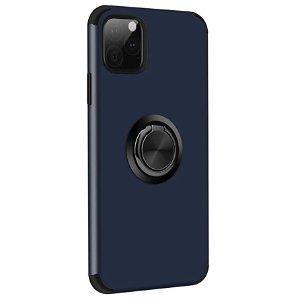 iPhone 11 Pro Fleksibel Plast Deksel m. Ring Stativfunksjon Mørkeblå
