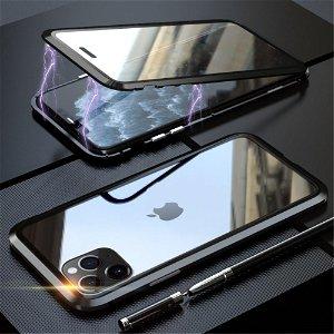 iPhone 11 Pro Magnetisk Metallramme m. Glass For- og Bakdeksel - Svart