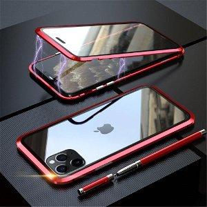 iPhone 11 Pro Magnetisk Metallramme m. Glass For- og Bakdeksel - Svart / Rød