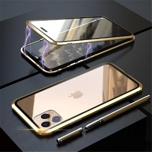 iPhone 11 Pro Magnetisk Metallramme m. Glass For- og Bakdeksel - Gull