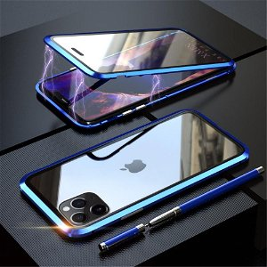 iPhone 11 Pro Magnetisk Metallramme m. Glass For- og Bakdeksel - Mørk Blå