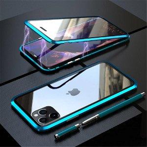 iPhone 11 Pro Magnetisk Metallramme m. Glass For- og Bakdeksel - Blå