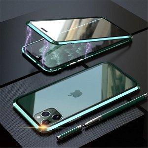iPhone 11 Pro Magnetisk Metallramme m. Glass For- og Bakdeksel - Grønn