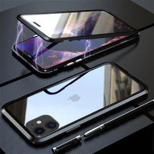 iPhone 11 Magnetisk Metall Deksel m. Glass Foran og Bak - Svart