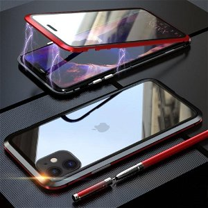 iPhone 11 Magnetisk Metall Deksel m. Glass Foran og Bak - Rød