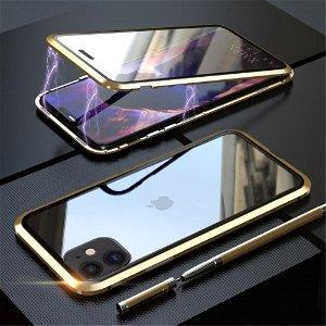 iPhone 11 Magnetisk Metall Deksel m. Glass Foran og Bak - Gull