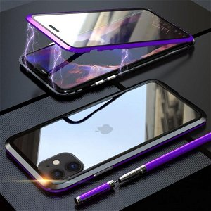 iPhone 11 Magnetisk Metall Deksel m. Glass Foran og Bak - Lilla