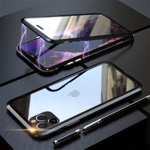 iPhone 11 Pro LUPHIE 360⁰ Magnetisk Deksel m. Glas Forside & Bakside (Square Edge) - Svart