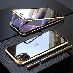 iPhone 11 Pro LUPHIE 360⁰ Magnetisk Deksel m. Glas Forside & Bakside (Square Edge) - Gull