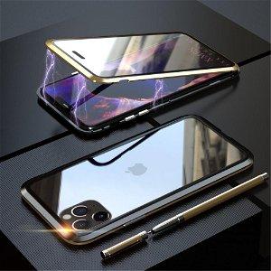 iPhone 11 Pro LUPHIE 360⁰ Magnetisk Deksel m. Glas Forside & Bakside (Square Edge) - Gull / Svart