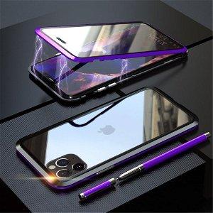 iPhone 11 Pro LUPHIE 360⁰ Magnetisk Deksel m. Glas Forside & Bakside (Square Edge) - Lilla / Svart