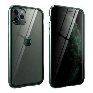 iPhone 11 Pro 360° Magnetisk Deksel med Glassbakside og Forside m. Privacy funksjon - Grønn