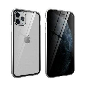 iPhone 11 Pro 360° Magnetisk Deksel med Glassbakside og Forside m. Privacy funksjon - Sølv
