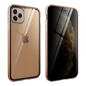 iPhone 11 Pro 360° Magnetisk Deksel med Glassbakside og Forside m. Privacy funksjon - Gull