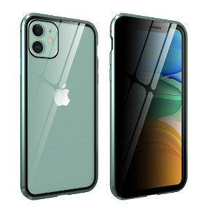 iPhone 11 Magnetisk Metall Deksel m. Glass Foran og Bak m. Privacy Glass - Grønn