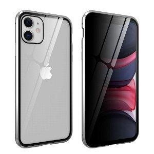 iPhone 11 Magnetisk Metall Deksel m. Glass Foran og Bak m. Privacy Glass - Sølv