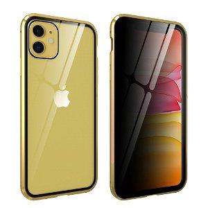 iPhone 11 Magnetisk Metall Deksel m. Glass Foran og Bak m. Privacy Glass - Gull
