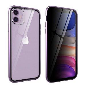iPhone 11 Magnetisk Metall Deksel m. Glass Foran og Bak m. Privacy Glass - Lilla