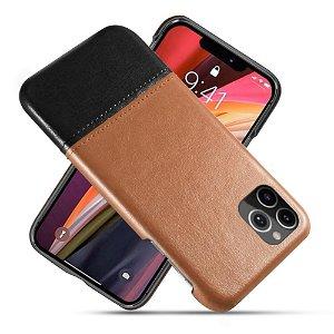 iPhone 12 / 12 Pro Skinn Bakdeksel - Brun / Svart