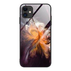 iPhone 12 Mini Bakdeksel m. Glass Bak - Oransje Galakse