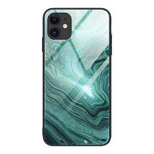 iPhone 12 Mini Bakdeksel m. Glass Bak - Green Flow