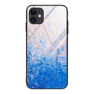 iPhone 12 Mini Bakdeksel m. Glass Bak - Blå og Hvit Maling