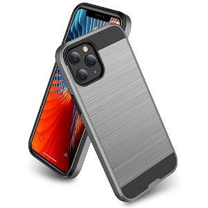iPhone 12 Pro Max Plast Deksel med Metallutseende - Grå