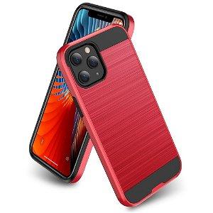 iPhone 12 / 12 Pro Plast Deksel med Metallutseende - Rød