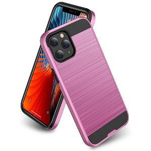 iPhone 12 / 12 Pro Plast Deksel med Metallutseende - Pink