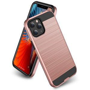 iPhone 12 / 12 Pro Plast Deksel med Metallutseende - Rose Gold