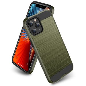 iPhone 12 / 12 Pro Plast Deksel med Metallutseende - Grønn