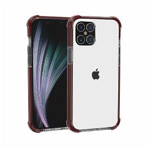 iPhone 12 Pro / 12 Plast Deksel Hybrid - Gjennomsiktig / Mørkerød