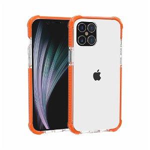 iPhone 12 Pro / 12 Plast Deksel Hybrid - Gjennomsiktig / Oransje