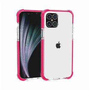 iPhone 12 Pro / 12 Plast Deksel Hybrid - Gjennomsiktig / Pink