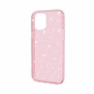 iPhone 12 / 12 Pro Deksel med Glimmer - Gennemsigtig / Pink