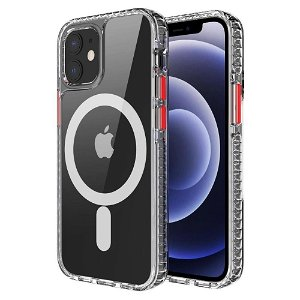 iPhone 12 / 12 Pro Non-Slip Deksel - MagSafe Kompatibel - Gjennomsiktig / Rød