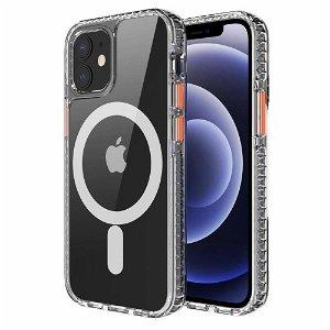iPhone 12 / 12 Pro Non-Slip Deksel - MagSafe Kompatibel - Gjennomsiktig / Oransje