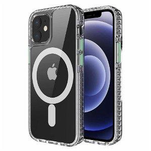 iPhone 12 / 12 Pro Non-Slip Deksel - MagSafe Kompatibel - Gjennomsiktig / Grønn