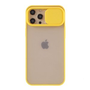 iPhone 12 Pro Max Frosted Plast Deksel Med CamSlider - Gul